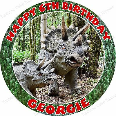 Personalised Triceratops Dinosaurs Edible Icing Birthday Cake Topper