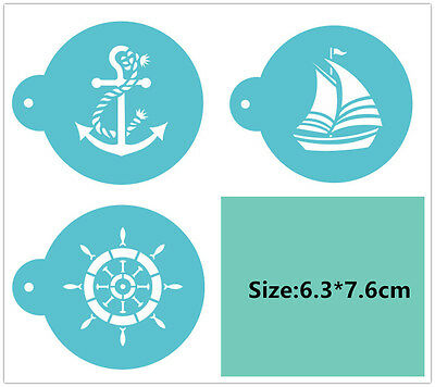 3 Pcs Packed Ship Anchor Cookie Cake Stencil Decorate Mould Fondant Biscuit Tool