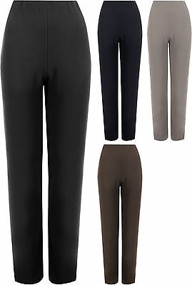 New Plus Size Women Ribbed Straight Leg Ladies Stretch Trousers Pants 12-26