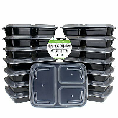 Freshware 15-Piece 3-Compartments Bento Lunch Box with Lids Stackable Set, 32 oz