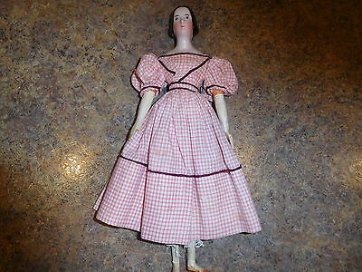 """10 1/2"""" Early All Orig Pink Lustre China, Braided Bun, Kid Body Wood Limbs"""