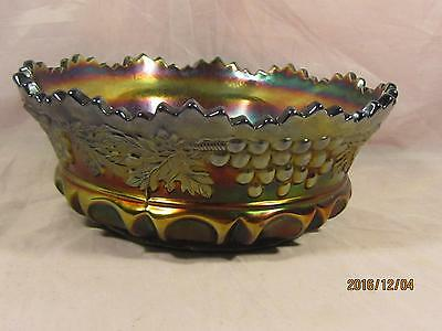 Northwood Carnival Glass Large Grape & Cable Berry Bowl