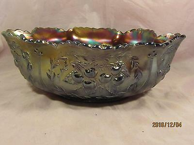 Dugan Carnival Glass Wreathed Cherry Large Berry Bowl