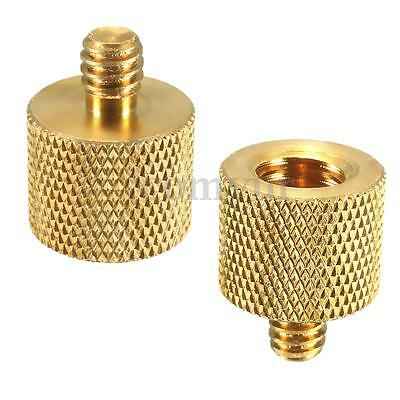 "2X 3/8"" Female to 1/4""Male Tripod Thread Reducer Adapter Brass Copper For Camera"
