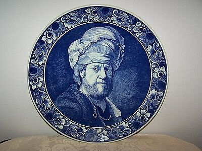 Vintage Dutch Delft Blue Wall Portrait Man In Turban Charger Plate - 11 5/8''