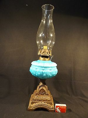 C.1900 Kerosene Lamp Blue Embossed Decorative Font Cast Metal Base Single Burner