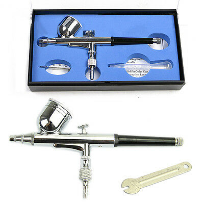 Dual Action Gravity Feed Airbrush 0.3mm Spray Art Paint Tattoo Kit Nail Tool