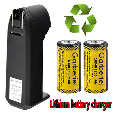 2x16340 CR123A 1800mAh Li-ion Rechargeable Battery+Charger For Camera,Flashlight