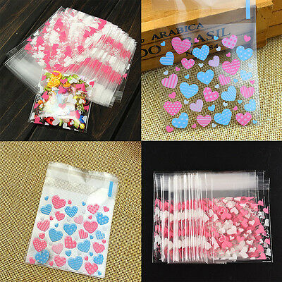 100Pcs Pink Packaging Bag Cellophane Cookie Sweet Package Wedding Birthday Party