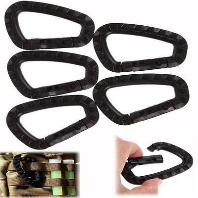 5Pcs Snap Plastic Outdoor Carabiner Camping Clip Hook  Key Chain Buckle D-Ring