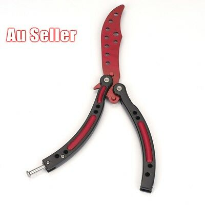 Red Balisong Butterfly Knife Trainer Training Practice Metal Steel Tool Sheath