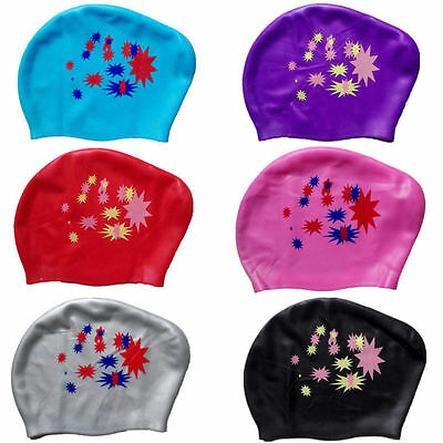 Fashion New Ear Cups Swim Cap Hat Silicone Long Hair Ladies Waterproof Women