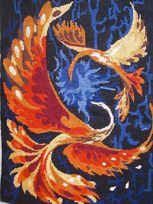 """vintage completed cotton needlepoint 2 Phoenix birds tapestry 19.5""""x13.5"""""""