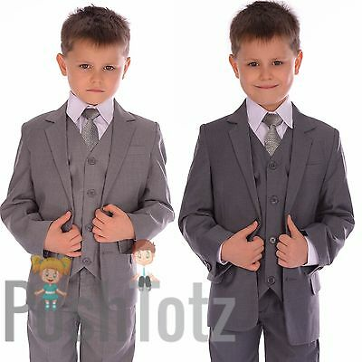 Boys Suits Fitted Grey Wedding Pageboy Suit 5pc Mid Grey, Light Grey, Poshtotz