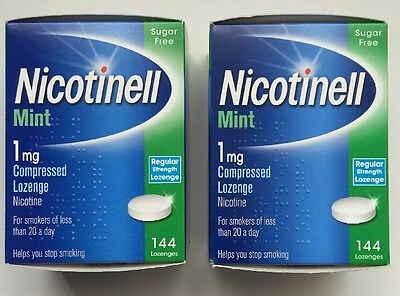 Nicotinell Mint 2x 1mg Compressed 144 Lozenge Nicotine Sugar Free Exp 09/2018
