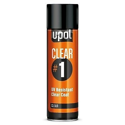 U-Pol Clear # 1 Uv Resistant Clearcoat Lacquer Aerosol Can Clear/al 1K H Quality