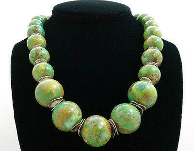 Handmade Rare Carico Lake Green Turquoise & Hill Tribe Silver Bead Necklace