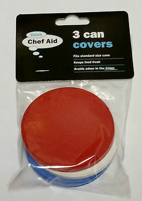 X 3 Can Covers For Tin Cans Fits Standard Size Cans Plastic Lid Cat Dog Pet