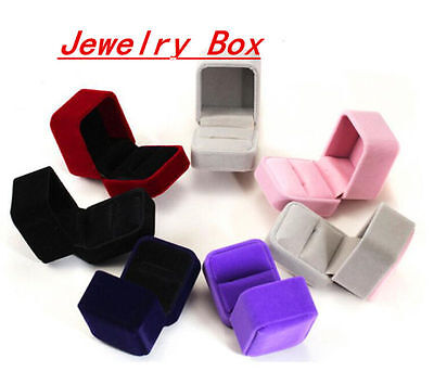 Velvet Ring Show Display Box Jewellery Gift Earring Brooch Storage Case NEW