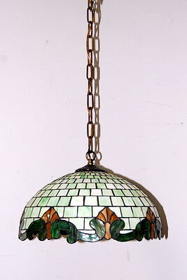 Antique 1950s Stained Glass Hanging Light Fixture, Vintage Lighting