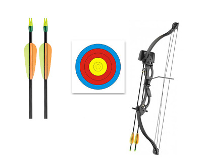 SILCO Archery 20Lbs Youth Black Compound Bow Set & 2x Arrows & 10 x40cm Targets