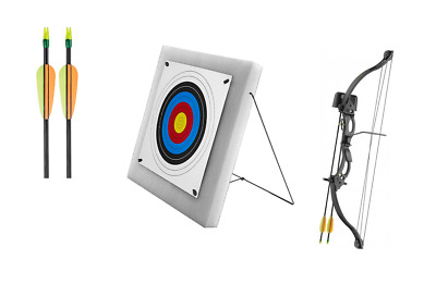Archery 20Lbs Youth Black Compound Bow, 60cm Foam, 5 Arrows & 5x 40cm Targets