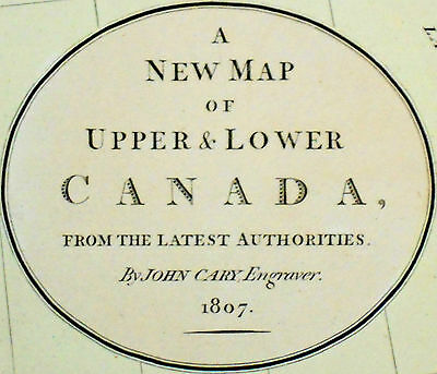 1807 Large Antique Map Chart John Cary Canada Ontario Quebec Hand-Color Folio