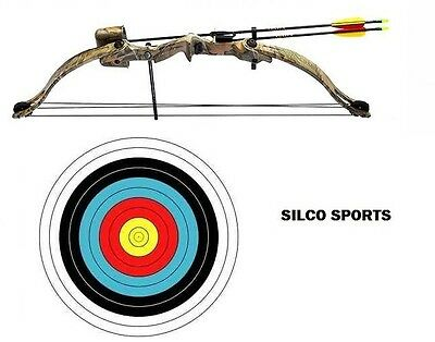 SILCO Archery 20Lbs Youth Camo Compound Bow Set & 3 x Arrows + 5 x 40cm Targets