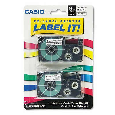 Casio XR-9X2S 9mm Labeling Tape Black on Clear