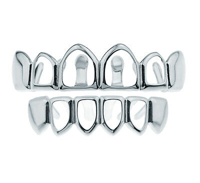 Men's New Silver Plated 4 Open Face Hip Hop Bling Top & Bottom Set Teeth Grills