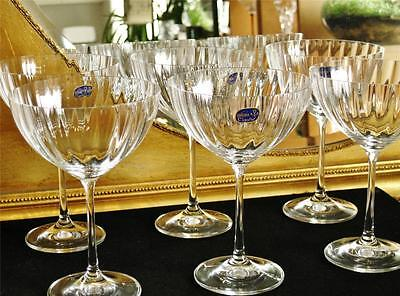 "Boxed set of 6 Stylish Bohemia ""Cascade"" Champagne saucers / cocktail glasses."