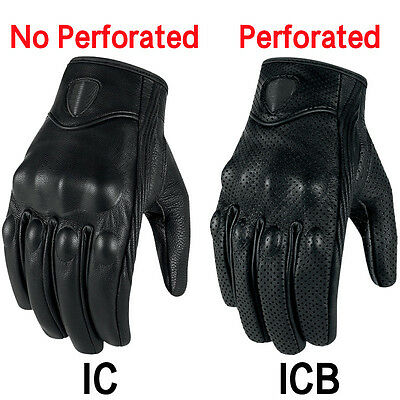 Fashion Men Motorcycle Gloves Leather Glove Touch Screen Perforate Racing Gloves