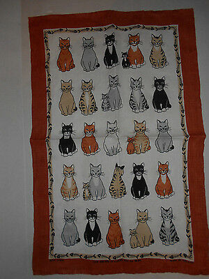 Cats Arrived By Ulster Irish Linen Tea Towel