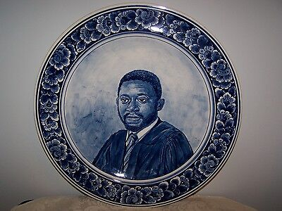 Vintage Dutch Delft Blue Wall Portrait Man - Charger Plate - 14'' - Back Signed