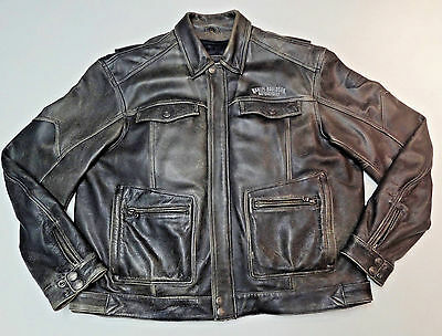 Harley Davidson Distressed Brown Leather Frontier Jacket Coat +Liner Xxl 2Xl 252