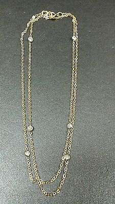 18K Yellow Gold Elegant .30 Dtw 6 Stone Diamond By The Yard 3.90Gr Necklace 24""