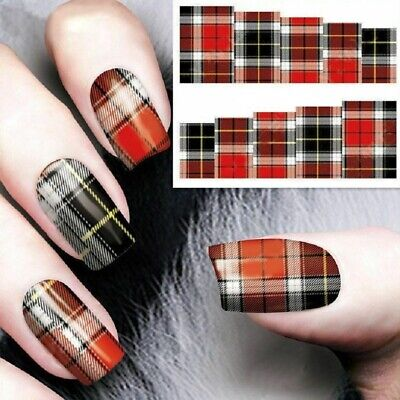 Nail Art Decals Transfers Stickers Multi Tartan Pattern (A-126)