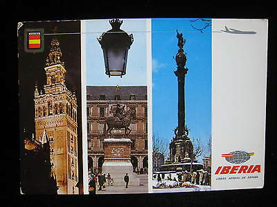 Sevilla Madrid Barcelona IBERIA SPANISH AIRLINES DC8 Destination Vtg Postcard