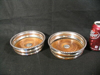 "Antique Pair Silver-Plate Wine Bottle Coasters w/Wood + Silver Bottoms (5-1/2"" )"