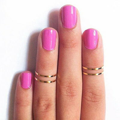 1pcs Korea Urban Gold stack Plain Cute Above Knuckle Ring Band Midi Rings CC