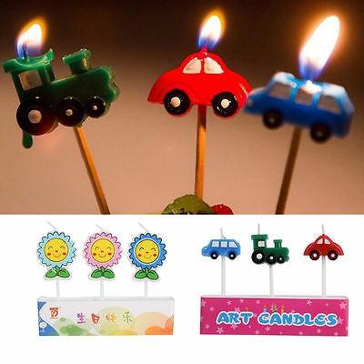 3PCS Cute Cartoon Candle Birthday Kid Craft Party Topper Cake Decoration Candles