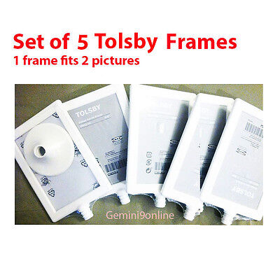 IKEA PHOTO Frames TOLSBY 5-Pk Photo Frame Fits 2 Pictures White 4x6 ...