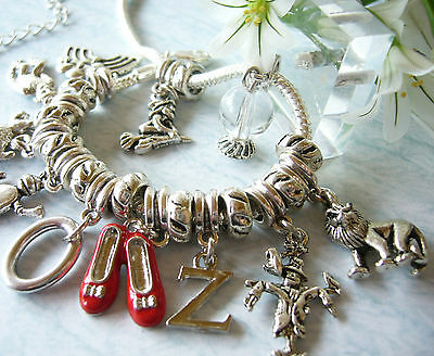 THE WIZARD OF OZ Inspired Ruby Slippers Charm Bracelet Tin Man Scarecrow Lion
