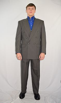 """Vintage Men's BURBERRY Gray 100% Wool Double Breasted Suit 40 R 33 x 29 +2"""""""