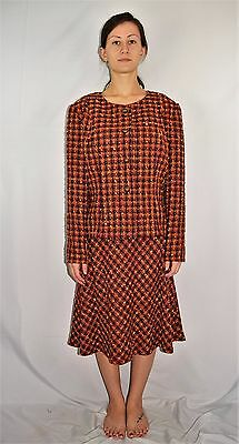 Vintage 60's Boucle Wool Checkered Plaid Orange Brown Skirt Suit Outfit L/XL