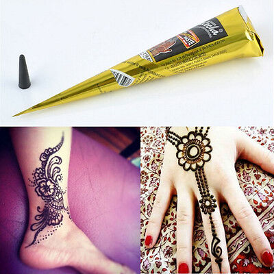 Natural Herbal Body Art kit Paint Cones Ink Black Henna Temporary Tattoo Mehandi