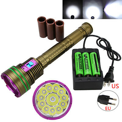 Underwater 100M 30000Lm 12XL2 LED Diving Flashlight 18650/26650 Dive Torch Light