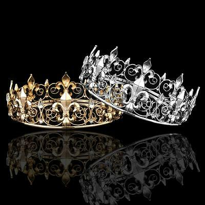 Men's Imperial Medieval King Crown Austrian Rhinestone Crystal Tiara Prom Party