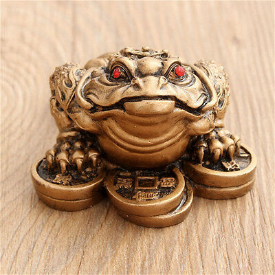 Chinese Feng Shui Small Three Legged Money Toad Fortune Frog Home Decor Craft