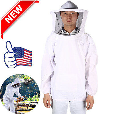 New Large Beekeeping Bee Keeping Suit Jacket Pull Over Smock with Veil TO